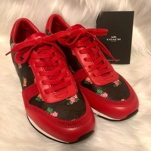 Coach Rebecca ll red floral sneakers size 9